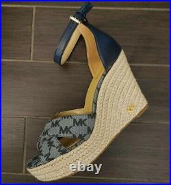 New $184 Michael Kors Signature MK LOGO Wedge Vanilla Tan Blue heel Sandal Shoes