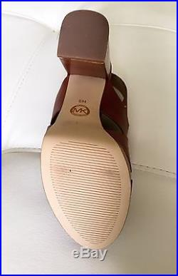 New Gorgeous Michael Kors Woman Brown/Luggage Leather Heels Platform Open Toe 6