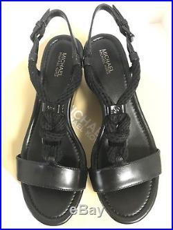 New In Box Michael Kors Holly Flatform Black Rope Women Platform Sandals Size 6