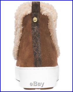 New MICHAEL KORS Size 5 Ashlyn Suede Shearling Boots Sneaker Dark Caramel