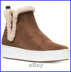New MICHAEL KORS Size 9.5 Ashlyn Suede Shearling Boots Sneaker Dark Caramel