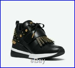 New MICHAEL KORS Women's Georgie Kiltie Black Leather Sneaker Shoes Size 8.5 M