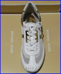 New MICHAEL KORS sneakers MK MAGGIE VENTILATED white & gold /Navy & Silver shoes
