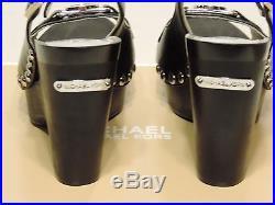 New MICHAEL Kors Charm Sling Platform Pumps wedge black leather studded silver