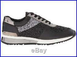 New Michael Kors Allie Wrap Trainer Sneaker Shoes Black Glitter Gunmetal 5.5,6