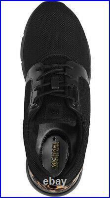 New Michael Kors Amanda sneakers black leopard trim women's shoes
