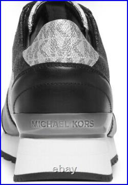 New Michael Kors BILLIE TRAINER Lace Up Sneakers Women's Shoes Black white