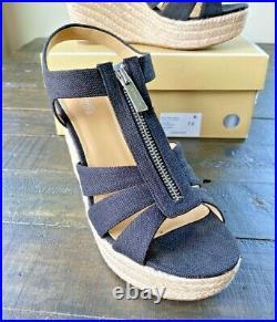 New Michael Kors Berkley Black Small Weave Canvas Wedge Sandals Shoes Mult Sz