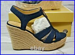 New Michael Kors Berkley Navy Canvas Wedge Sandals Shoes Mult Sz