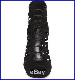New Michael Kors Clarissa Caged Platform Black Suede Leather High Heel Sandal
