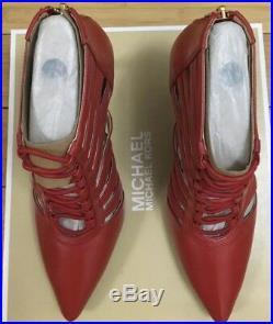 New Michael Kors Clarissa Platform Red Leather 9 Pumps Heels Stiletto 8cm Shoe