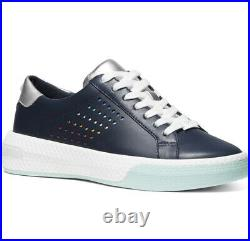 New Michael Kors Codie leather Sneakers lace up shoe Navy shoes perforated sides