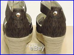 New Michael Kors Damita Caged Espadrille Wedge Sandal brown platform MK logo pvc