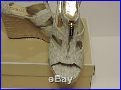 New Michael Kors Damita Caged Espadrille Wedge Sandal monogram MK vanilla pvc