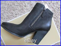 New Michael Kors Denver Leather Ankle Boots Womens 11 Black Booties