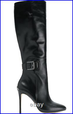 New Michael Kors Edna Boots Shoes Black Leather Heels Tall $350