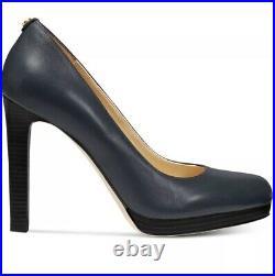 New Michael Kors Ethel Platform pumps leather high heel slip on shoes admiral