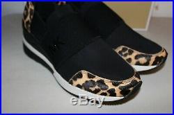 New Michael Kors Felix Trainer Genuine Calf Hair Wedge Sneaker 8 M Leopard $155