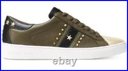 New Michael Kors Frankie Sneakers shoes stars stripes stud metallic olive women