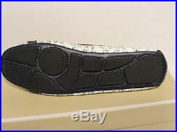 New Michael Kors Fulton Ballet MK Logo Navy White Saffiano Leather Flat