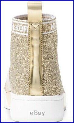 New Michael Kors Grover Slip on Sneakers Booties metallic wedge heel Gold shoes