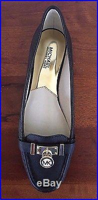 New Michael Kors Hamilton Moc Black Leather flat Slip On Women Shoes Size 6.5