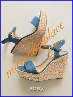 New Michael Kors Jill Denim Espadrille wedge Sandals Pick-A-Size