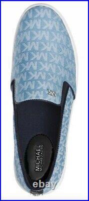 New Michael Kors KEATON denim blue sneaker slip on canvas shoes MIni MK Logo