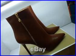 New Michael Kors Keke Leather Ankle Bootie Luggage Size 8.5