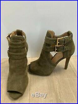 New Michael Kors Khaki Platform Front Open Toe Shoe Boots Size 35 Uk 2