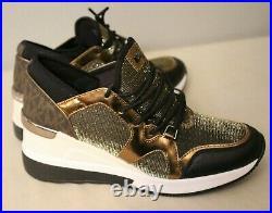 New Michael Kors Liv Trainer Fashion Sneakers Gold / Black Chain Mesh Shoes 7