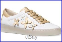 New Michael Kors MK Leather Lola white Gold Floral studding Fashion Sneaker Shoe