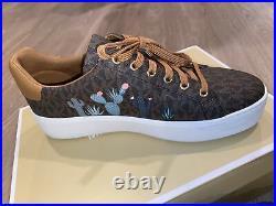 New Michael Kors MK Poppy Lace-Up SIG SM/MK CHARM PRINT Women Shoes Size 8.5