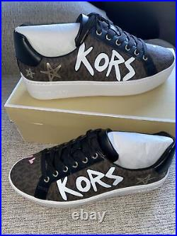 New Michael Kors MK Poppy Lace-Up SIG SM/NYC Print /Pyramid Women Shoes Size 8