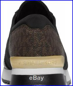 New Michael Kors MK Trainer Sneakers jogger black brown logo platform wedge shoe