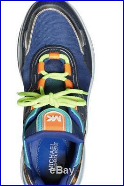 New Michael Kors MK Women's Olympia Trainer Scuba Sneaker Shoes Sapphire blue