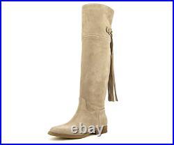 New Michael Kors Rhea Flat Boots Shoes Dark Khaki Suede Tassel Tall $285
