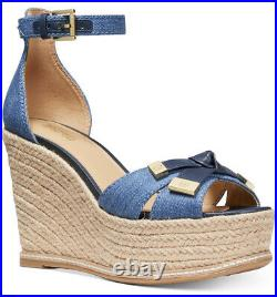 New Michael Kors Ripley Wedge Sandals peep toe natty knotted shoes denim 8.5
