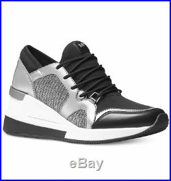 New Michael Kors Scout Trainer Jogger wedge Sneakers Women's Shoes Black/Silver
