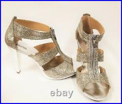 New Michael Kors Silver Champagne Glitter Berkley T-strap Shoes Size-11, Eur 42.5