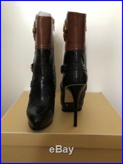 New Michael Kors Stockard Platform/ Heel Bootie black/ brown Leather Sz 8