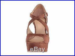 New Michael Kors Sz 7 Harlen Platform Sandal Heel Dark Caramel