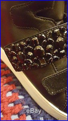 New Michael Kors Sz 7 Randi High Top Black Leather Sneaker