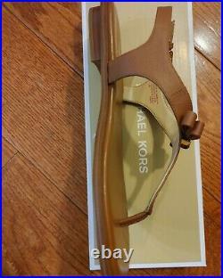 New Michael Kors Thong Sandal MK LOGO charm & Bow Luggage brown flats Shoes
