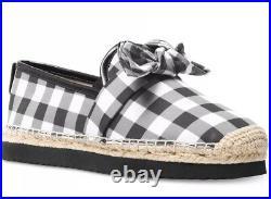 New Michael Kors Willa Espadrille flat plaid back white checked Gingham bow shoe