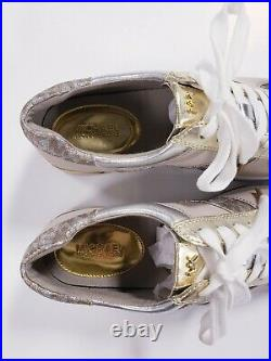 New Michael Kors Women's Allie Trainers Metallic Sneakers Shoes Gold Size 9.5
