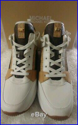 New Michael Kors Women's Georgie Trainer Wedge Sneakers Brnt/Brown Size 8M NIB