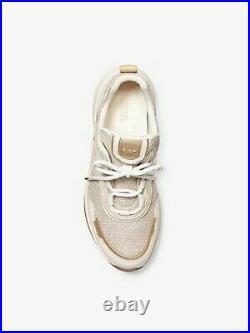 New Michael Kors Women's Olympia Glitter Chain Trainer Sneaker Shoe Pale Gold