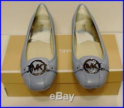 New Michael Kors fulton Ballet flat MK logo Light Sky saffiano leather Moc blue