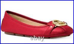 New Michael Kors fulton Ballet flat MK logo saffiano leather Moc Bright Red shoe